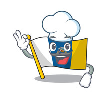 Funny Chef Flag Canary Island Scroll Cartoon Character Wearing White Hat