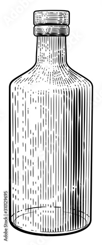 Valokuvatapetti Glass drinks bottle in a vintage retro woodcut etching or engraved style