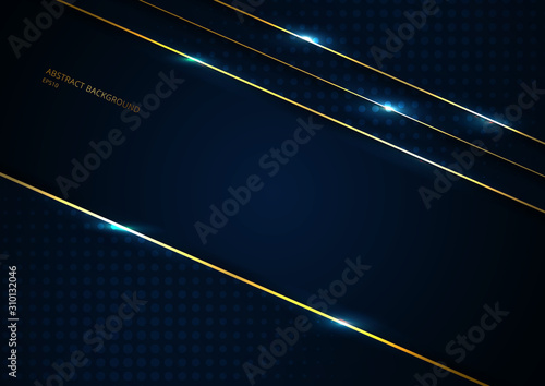 Fotografiet  Abstract template dark blue background geometric triangle shape with gold lines stripe with space for your text