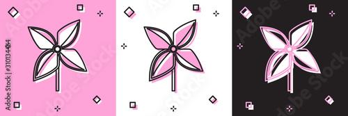Set Pinwheel icon isolated on pink and white, black background Canvas-taulu