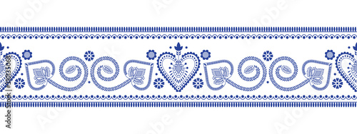 Folklore floral Nordic Scandinavian pattern vector seamless border. Ethnic blue and white ornament ribbon print with flowers and hearts. Finnish, Swedish and Norwegian style holiday decoration design.
