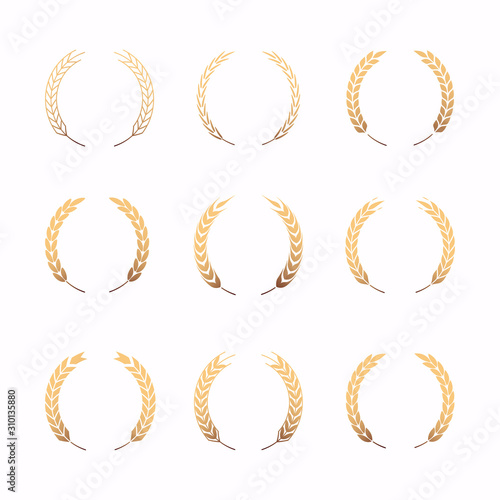 Collection of different gold silhouette circular laurel foliate. Fototapet