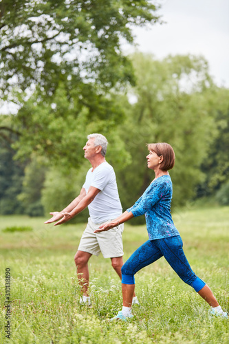 Senioren Paar macht eine Tai Chi Übung - 310138890
