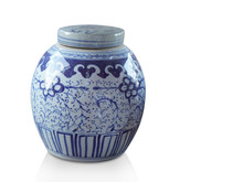 Di Cut Antique Blue Ceramic And Lid On White Background, Vintage, Object, Copy Space