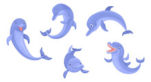 Set Of Animals Dolphins. Vecto...
