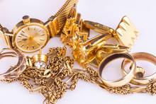 A Collection Of Old Gold Jewelery For Precious Metal Recycling