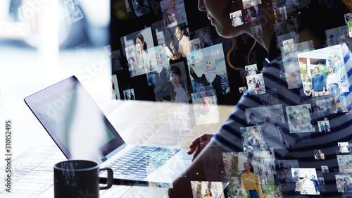 Obraz ソーシャルネットワーク - fototapety do salonu