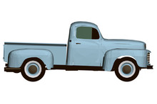 Vintage Blue Pickup. Polygonal...
