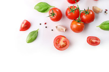 Ripe Red Cherry Tomatos  And Basil  Isolated On White Background. Top View