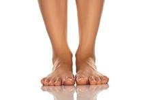 Beautiful Female Feet On White...