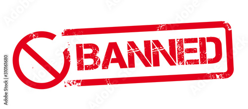 Cuadros en Lienzo  BANNED red rubber stamp
