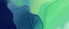 Colorful Horizontal Banner. Curvy Background Illustration With Medium Aqua Marine, Very Dark Blue And Teal Blue Color