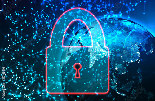 Fototapeta Internet network and cyber security concept. Planet, World Wide Web and the lock icon obraz na płótnie