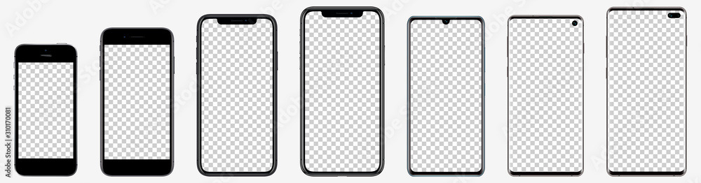 Fototapeta Realistic mockups popular phones with blank screens for your design. Vector graphic EPS 10