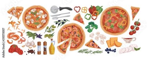 Fotografia  Pizza ingredients flat vector illustrations set