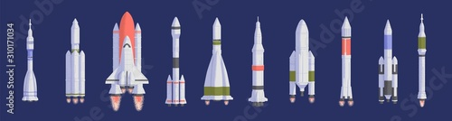 Photo Rockets and spaceships flat vector illustrations set