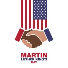 Martin Luther King Day, Handshake In Honor. Vector Modern Design Illustration.