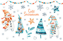 Watercolor Merry Christmas Hand Painted Set Of Nursery Character Snowmans Illustration. Handpainted Winter Holidays Cartoon Isolated Cute Funny Snowman Design Card. Snow Holiday Season Xmas