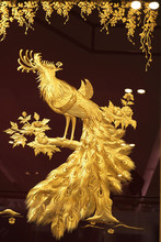 Real Gold Peacock Image In Frame