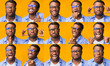 Set Of Black Man Expressions And Emotions Over Yellow Background