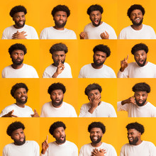 Collage Of Young Black Man Expressions And Emotions