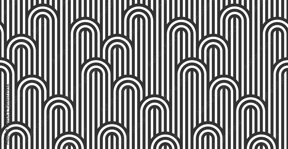 Fototapeta Seamless pattern with twisted lines, vector linear tiling background, stripy weaving, optical maze, twisted stripes. Black and white design.