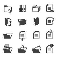 Documents And Folders Black And White Glyph Icons Set.