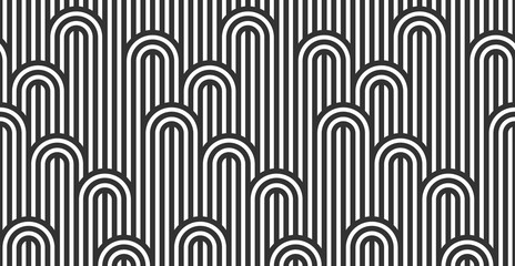 Seamless pattern with twisted lines, vector linear tiling background, stripy ...