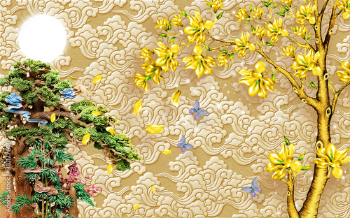Do pokoju   chinese-3d-wallpaper-mural-with-beige-background-tree-and-old-chinese-house-birds-and-golden-tree-flowers