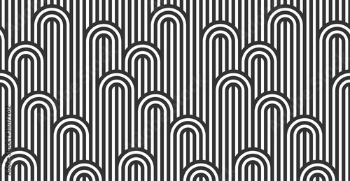 Obraz Seamless pattern with twisted lines, vector linear tiling background, stripy weaving, optical maze, twisted stripes. Black and white design. - fototapety do salonu