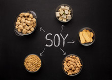 Soybeans, Tofu, Tempeh And Soy Meat On Black Chalkboard
