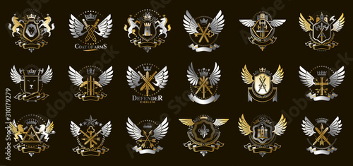 Heraldic Coat of Arms vector big set, vintage antique heraldic badges and awards collection, symbols in classic style design elements, family or business logos Canvas