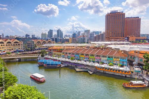 aerial view of Clarke Quay in singapore Canvas Print
