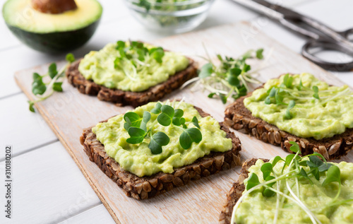 Fresh wholegrain toasts with avocado and microgreens Canvas Print