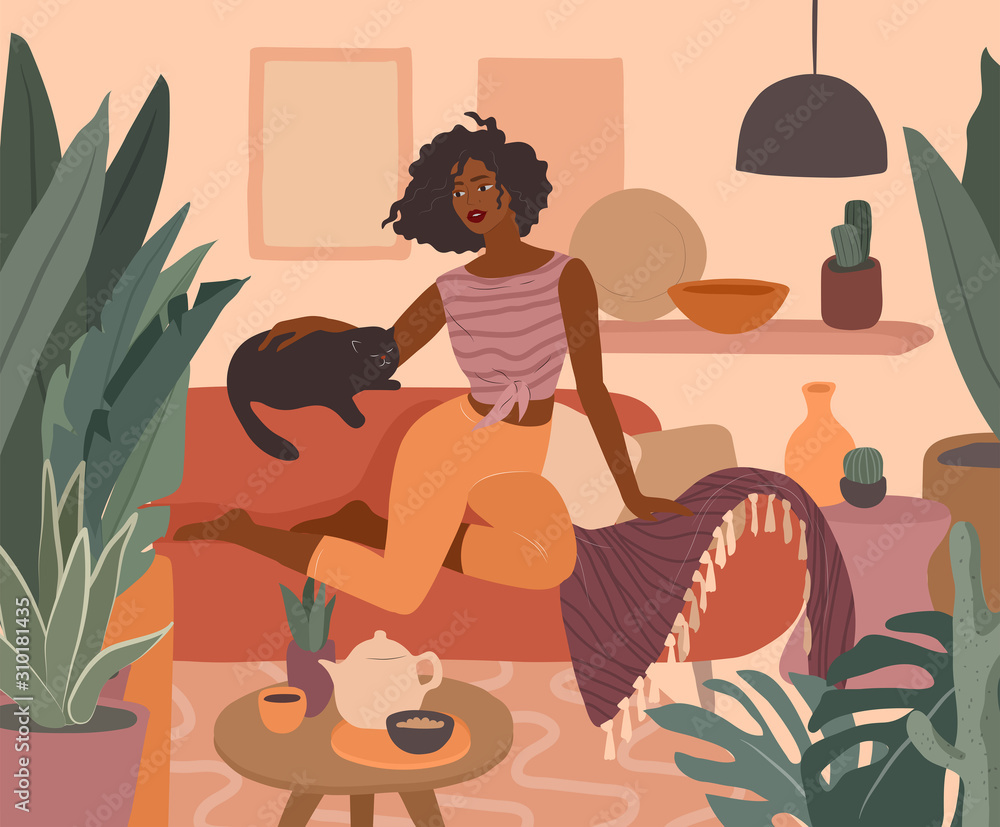 Fototapeta Cute african girl resting with a cat on couch. Feminine Daily life and everyday routine scene by young woman in home interior with homeplants. Cartoon vector