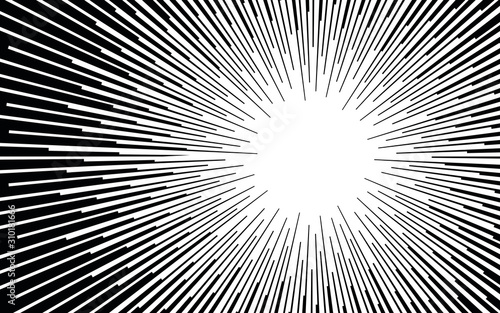 Comic book black and white radial lines background Manga or anime speed texture Superhero action frame Zoom effect Pop art gradient design Explosion vector illustration - 310181666