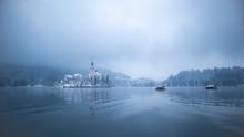 Lake Bled In Winter Season Wit...