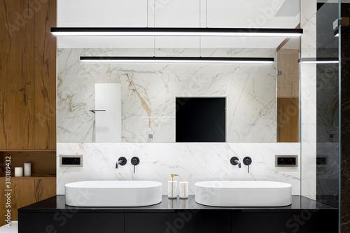 Elegant bathroom with two washbasins