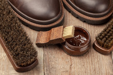 Shoe Shine. Brushes For Cleaning And Polishing Shoes. Cream Brush And Boots