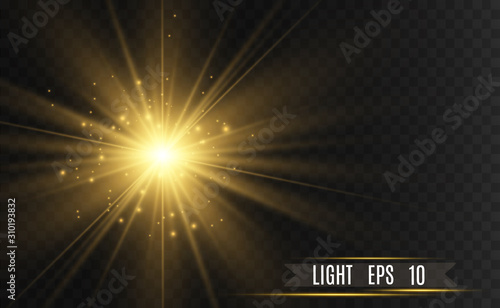 Fotomural  Vector Gold Sparkles, magic, bright light effect on a transparent background