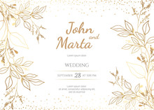 Wedding Invitation With Gold Flowers. Background With Geometric Golden Frame. Cover Design With An Ornament Of Golden Leaves.Trendy Templates For Banner, Flyer, Poster, Greeting. Eps8