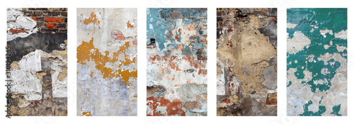 Obraz Old brick wall with peeling plaster, dark background for design, social media - fototapety do salonu