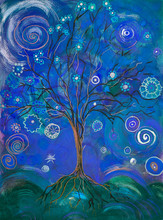 Blue Tree Of Life With Lollypops And Curls. The Dabbing Technique Near The Edges Gives A Soft Focus Effect Due To The Altered Surface Roughness Of The Paper.