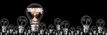 Light Bulbs With New And Old Way Concept