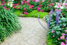 Walkway In Flower Garden Park
