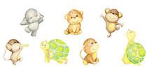 Monkey, Turtle, Elephant, Leop...