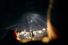 Handlebar Of Bicycle Decorated With Christmas Lights