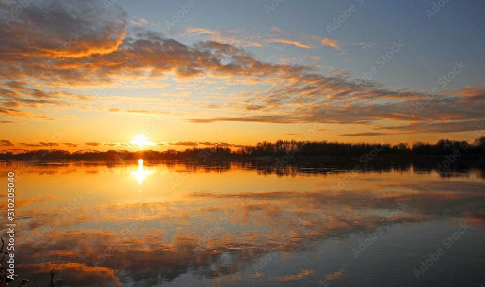 Beautiful sunset in Grudziadz .