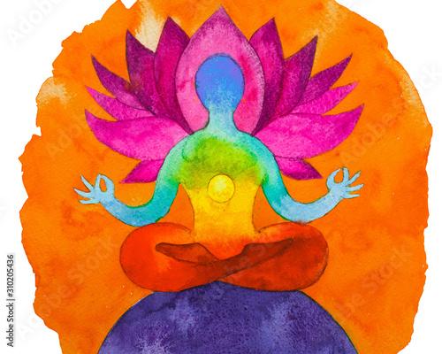 Disegno grafico Posizione del loto. Forza di 7 chakra Slika na platnu