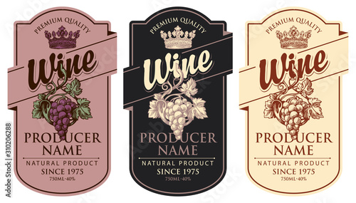 Fototapeta Set of three vector wine labels with hand-drawn bunches of grapes, crowns and calligraphic inscriptions in retro style in figured frames obraz